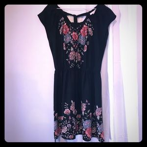 Lauren Conrad Black Floral Dress